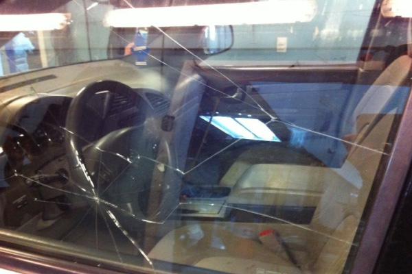 Cracked driver's side window