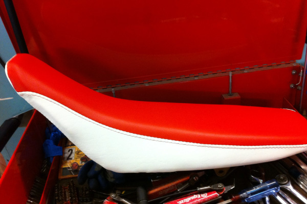 Red and white leather RV seat