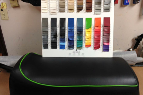 Leather seat with color swatch samples
